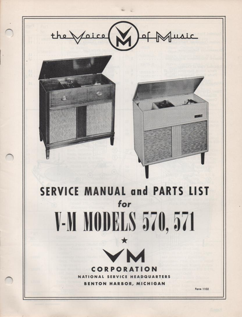 570 571 Console Phonograph Service Manual