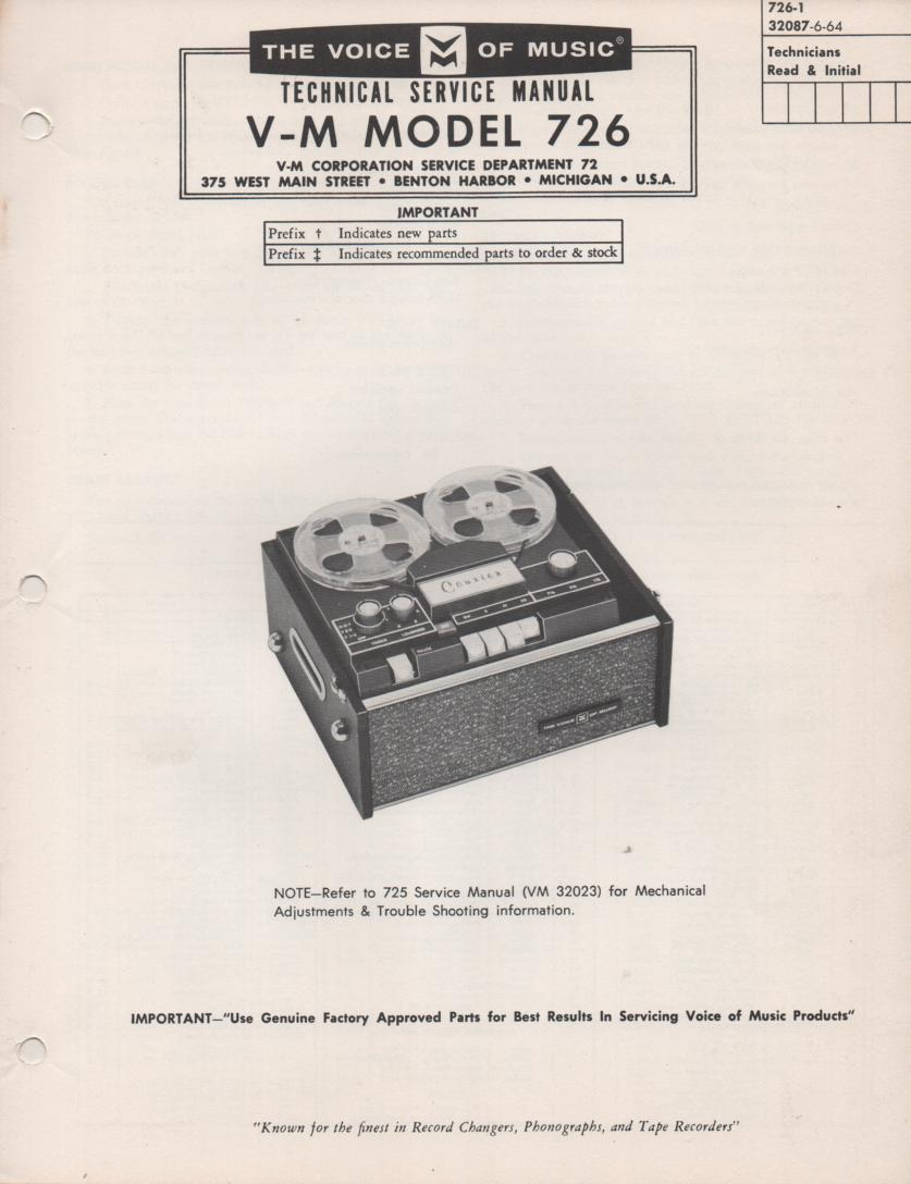 726 Reel to Reel Service Manual