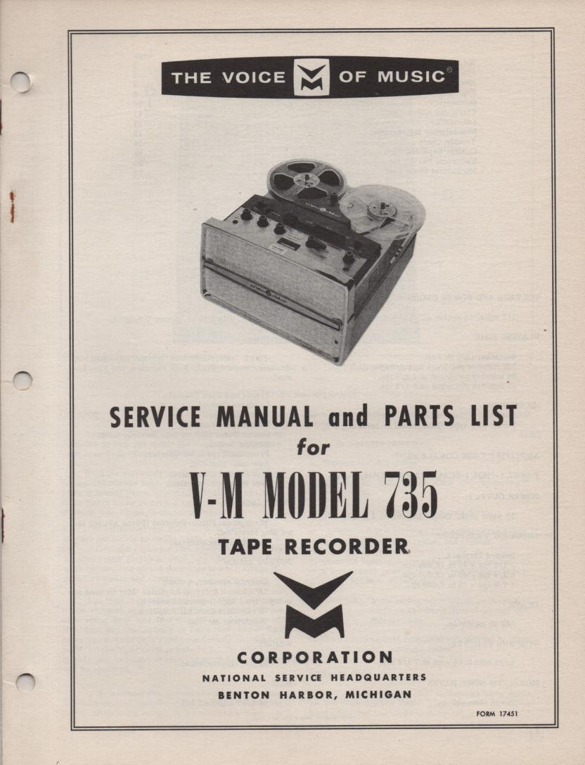 735 Reel to Reel Service Manual