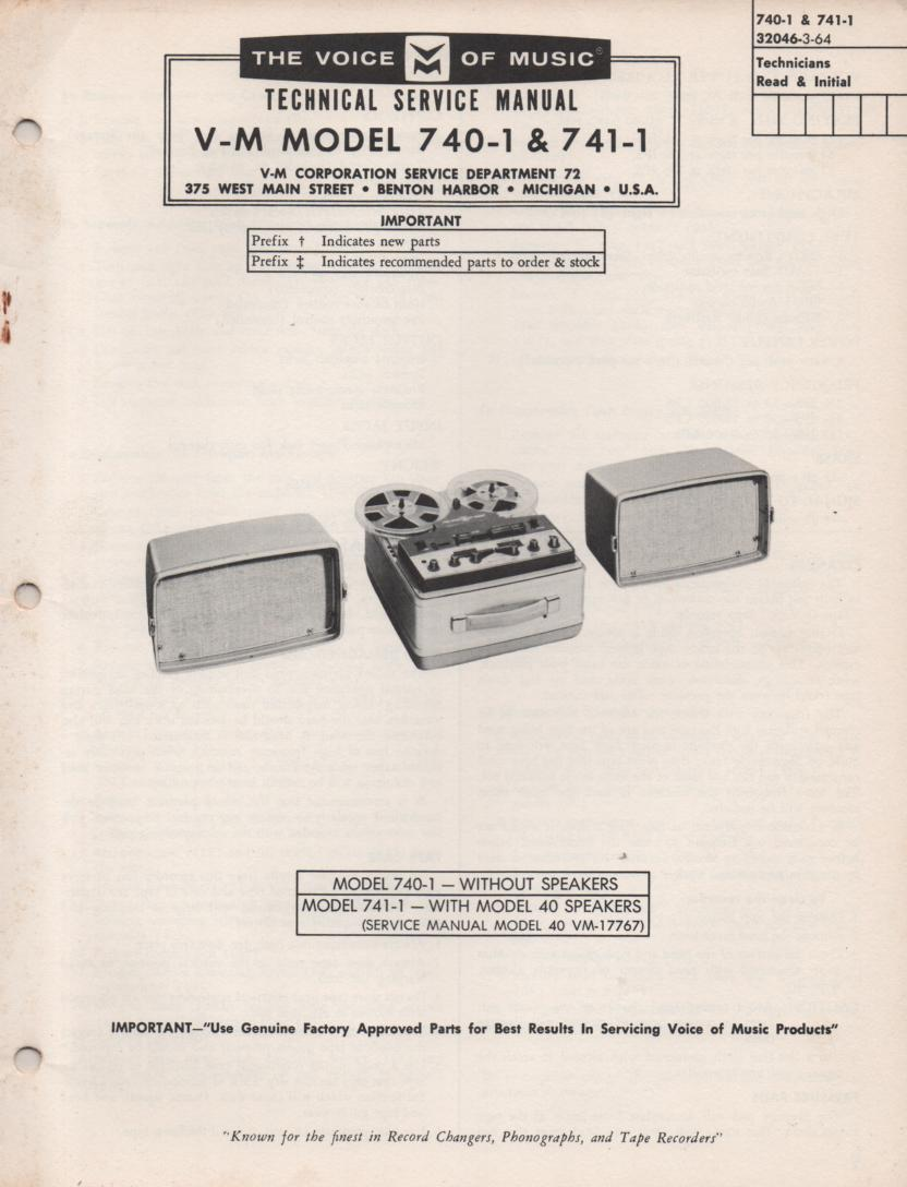 740-1 741-1 Reel to Reel Service Manual
