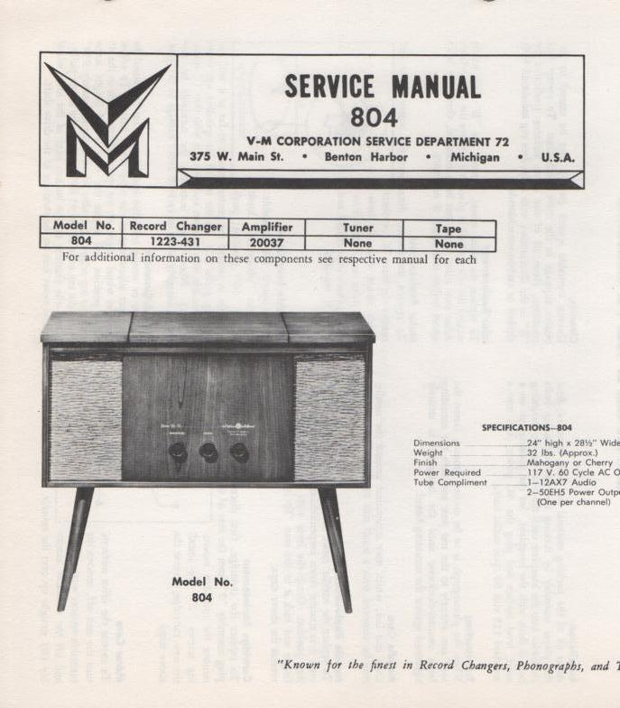 804 Console Service Manual.  Comes with 1223 and 20037 manuals