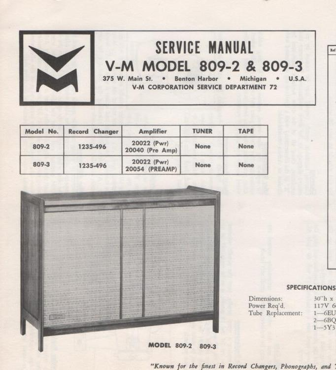 809-2 809-3 Console Service Manual. Comes with 1235 Record Changer Manual 20022 and 20040 manuals