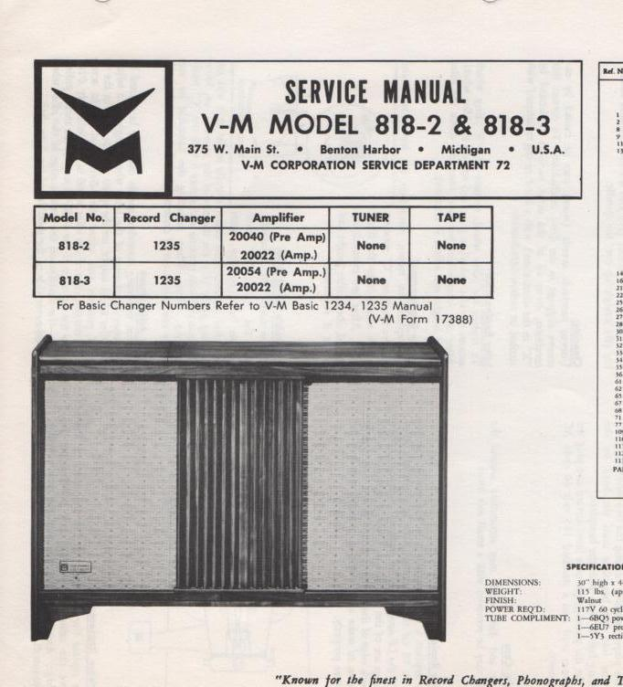 818-2 818-3 Console Service Manual... Comes with 1235 record changer manual.