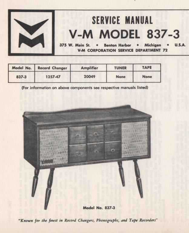 837-3 Console Service Manual... Comes with 1257 record changer and 20049 manuals