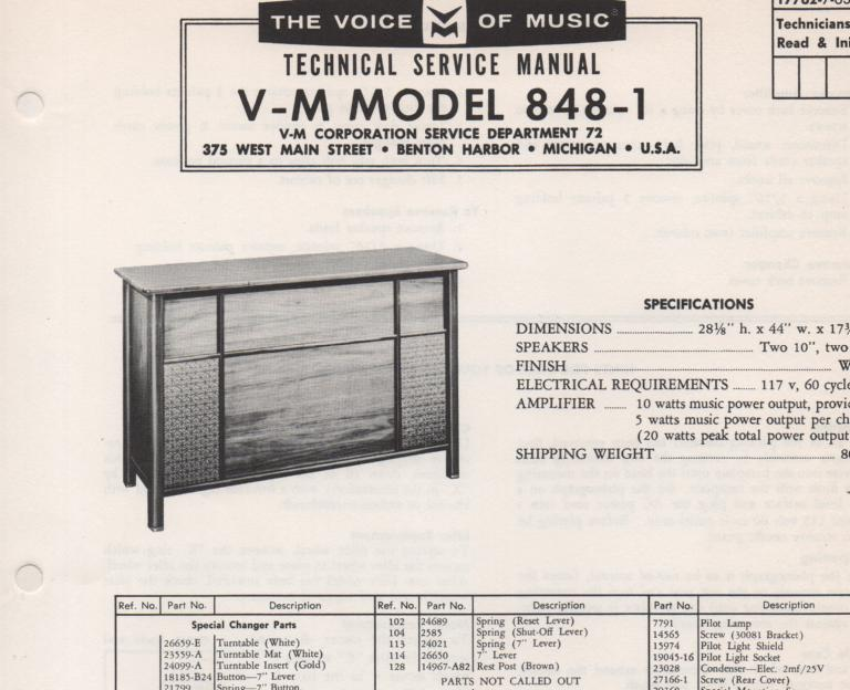 848-1 Console Service Manual... Comes with 1257 record changer manual
