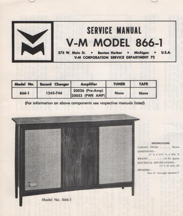 866-1 Console Service Manual..  comes with 20026 and 20053 manuals