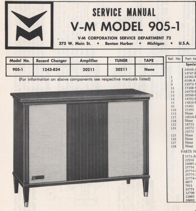 905-1 Console Service Manual ..Comes with 1243 changer manual..  No schematics..