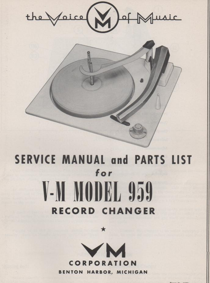 959 Record Changer Service Manual
