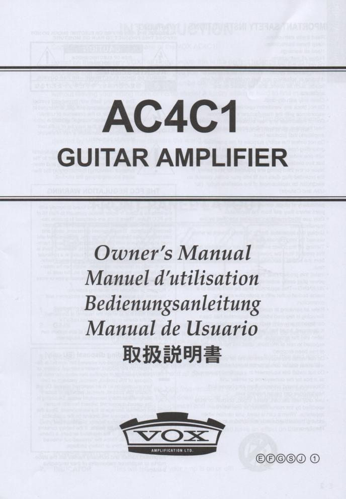 AC4C1 Guitar Amplifier Owners Manual. Printed in English, German, Japanese, French and Spanish...