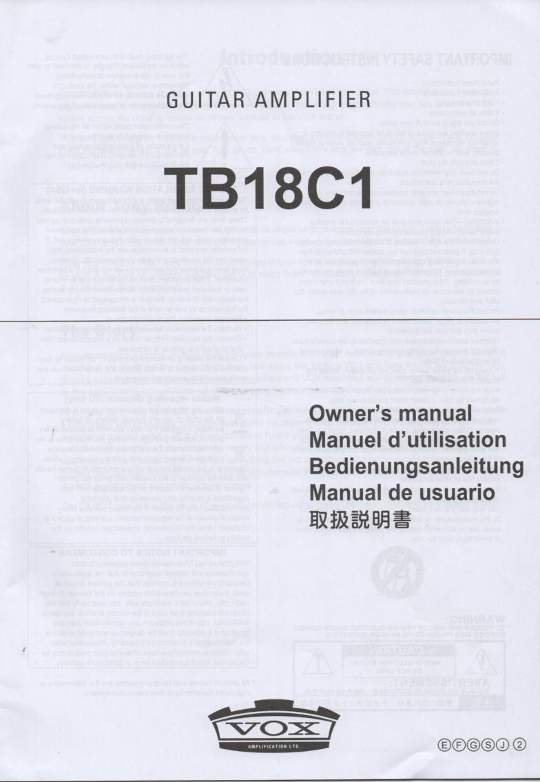 TB18C1 Guitar Amplifier Owners Manual. Printed in English, German, Japanese, French and Spanish...