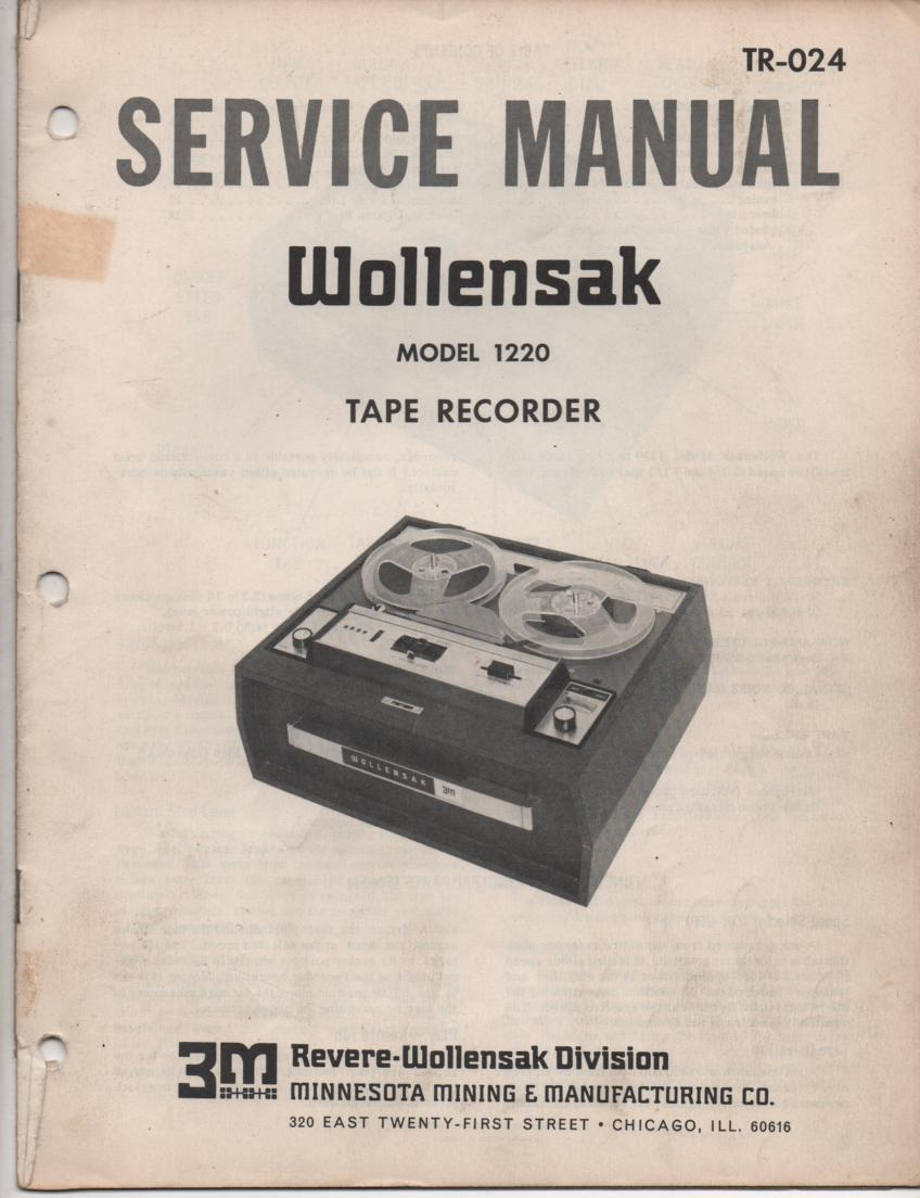1220 Reel to Reel Tape Recorder Service Manual