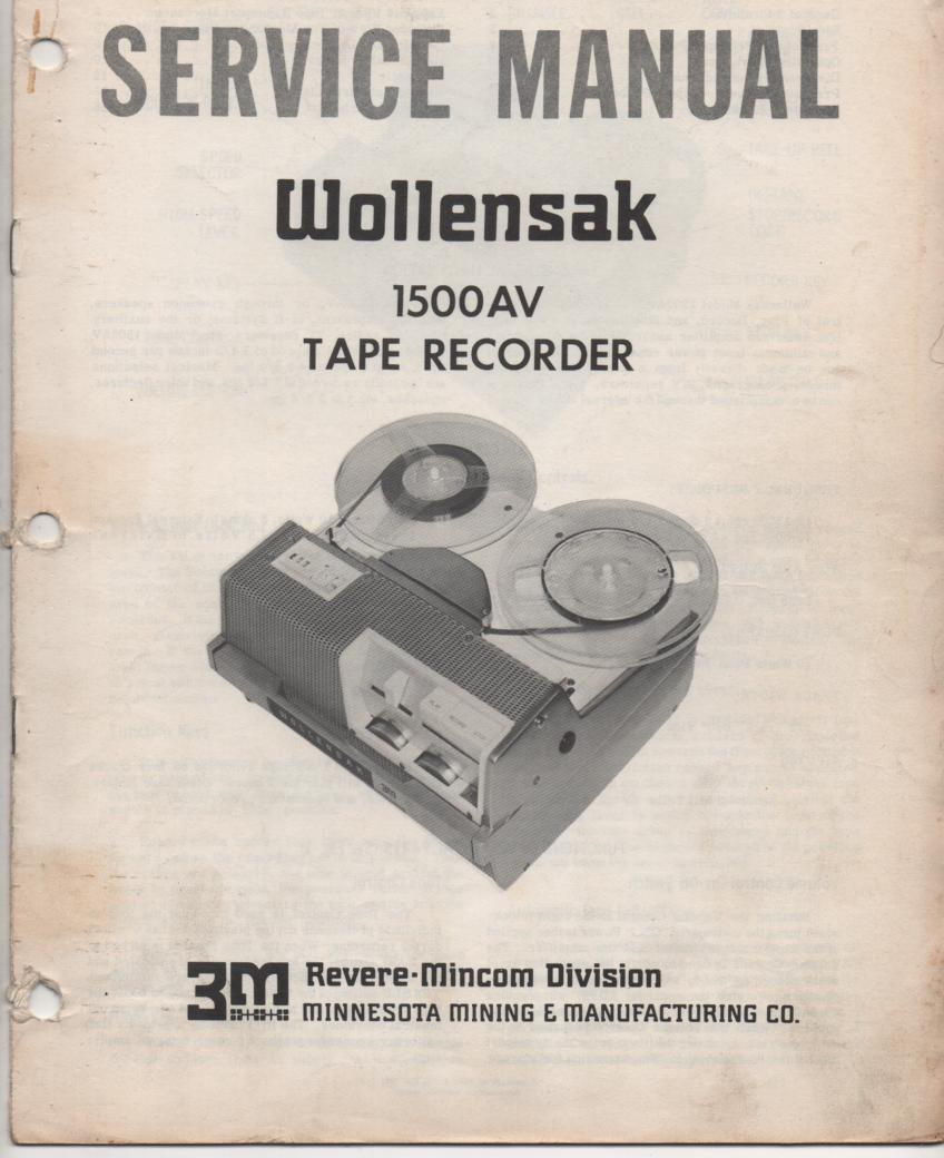 1500AV Reel to Reel Tape Recorder Service Manual