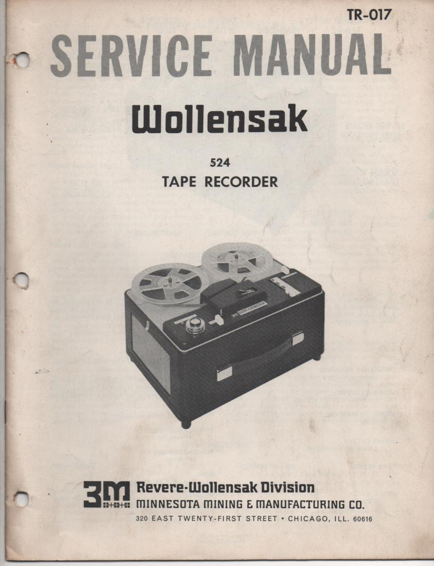 524 Reel to Reel Tape Recorder Service Manual