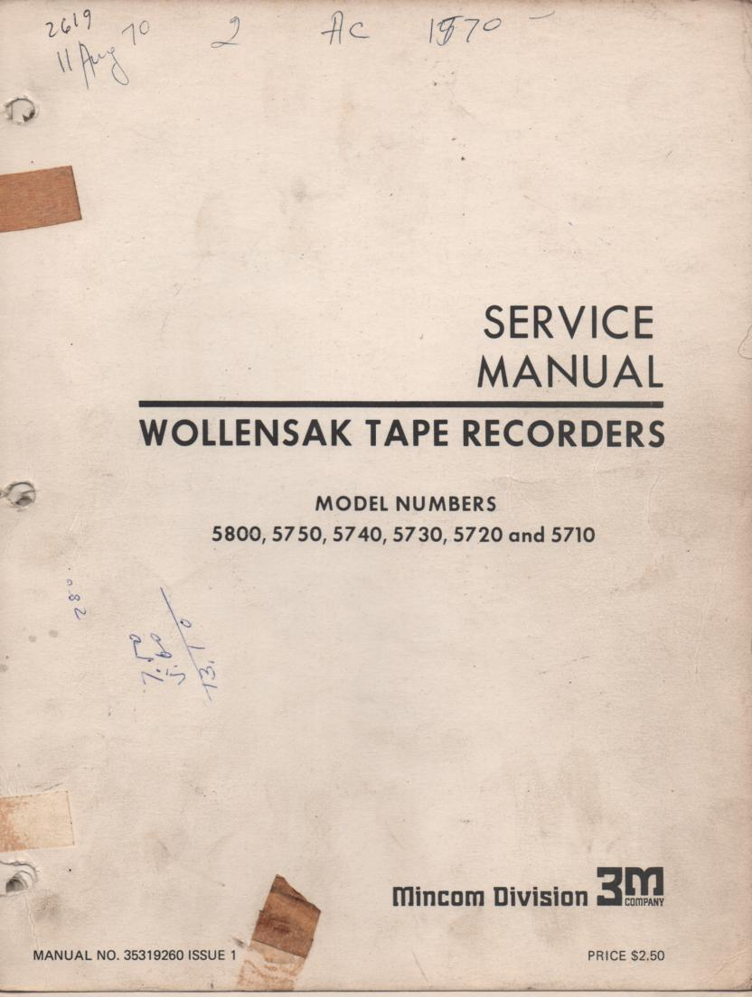 5710 5720 5730 5740 5750 5800 Reel to Reel Tape Recorder Service Manual