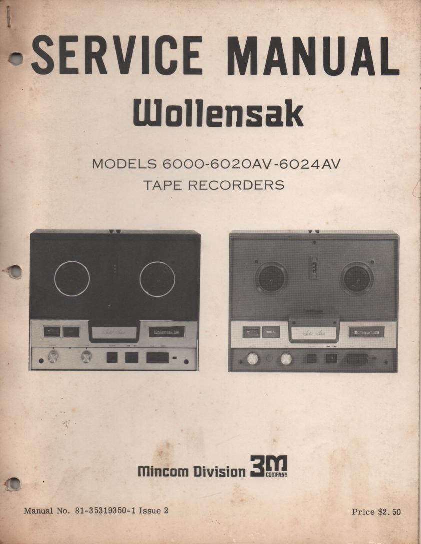 6000 6020AV 6024AV Reel to Reel Tape Recorder Service Manual