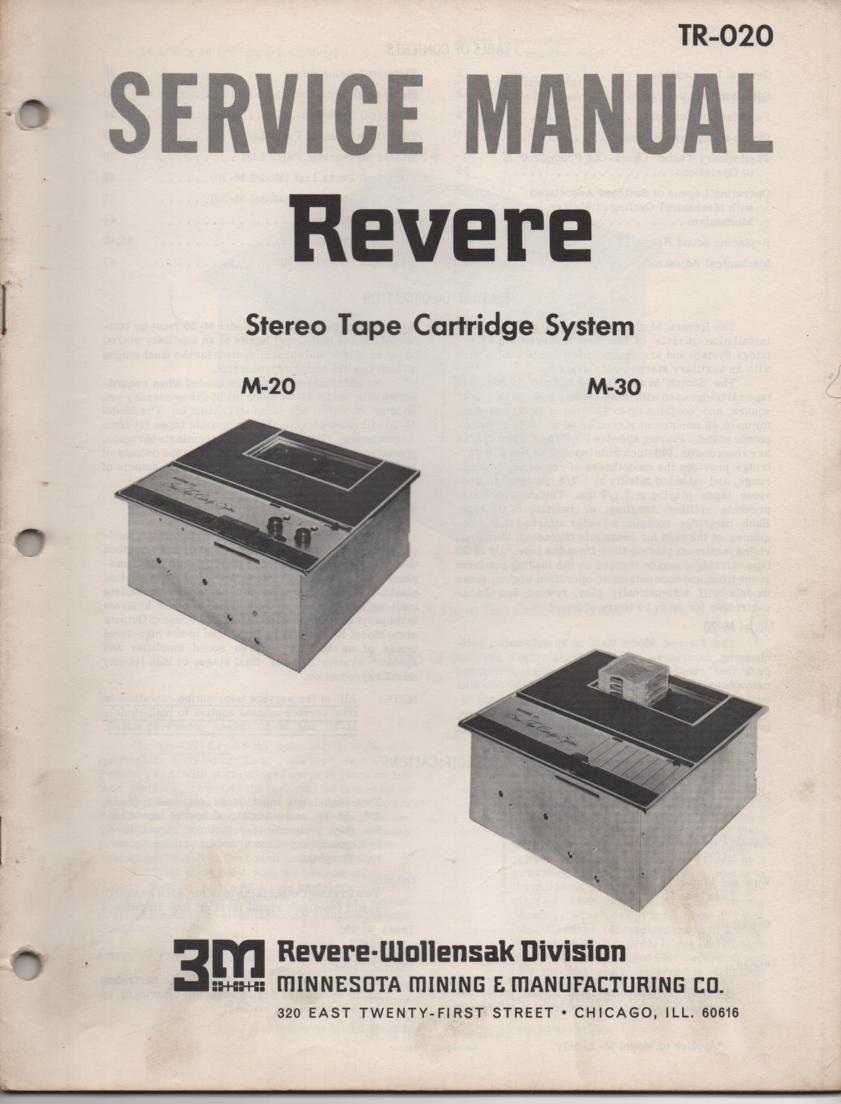 M-20 M-30 Tape Cartridge System Service Manual