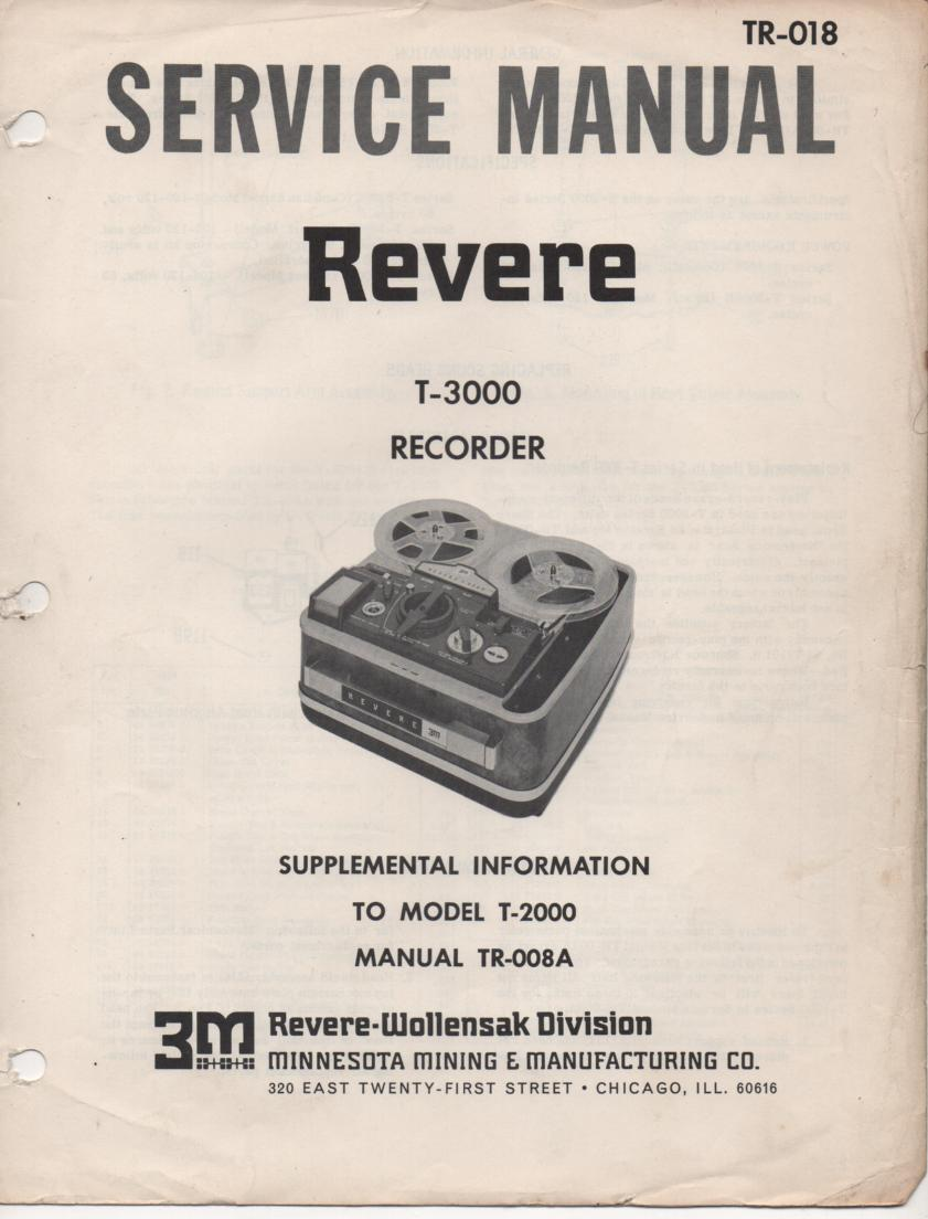 T-3000 Reel to Reel Tape Recorder Service Manual