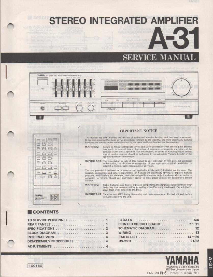 A-31 Amplifier Service Manual