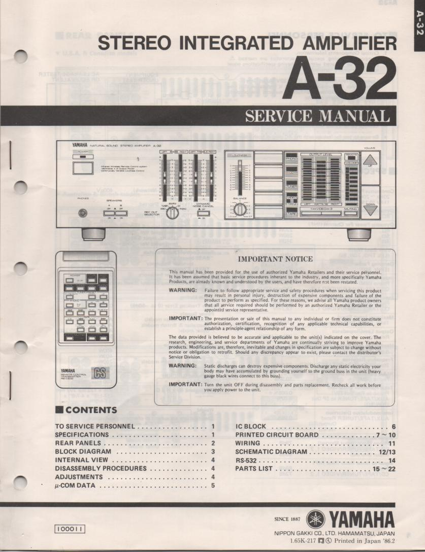 A-32 Amplifier Service Manual