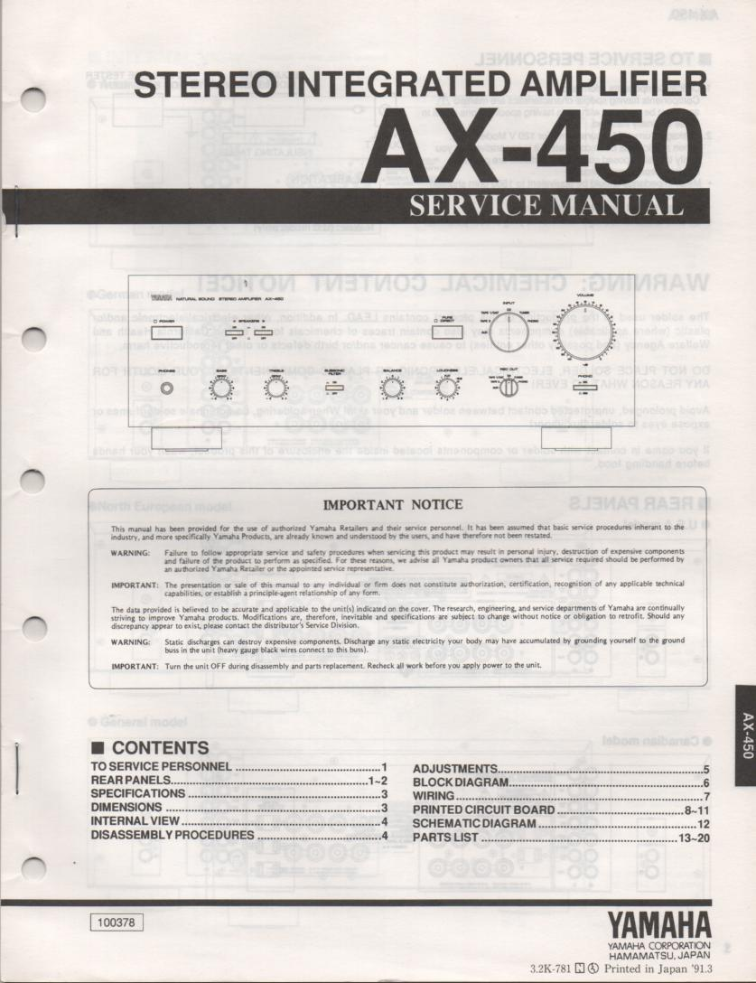 AX-450 Amplifier Service Manual
