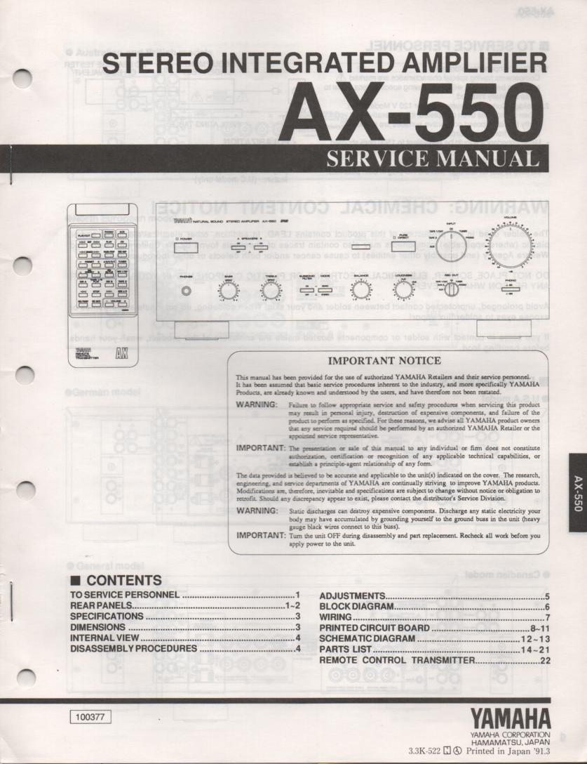 AX-550 Amplifier Service Manual