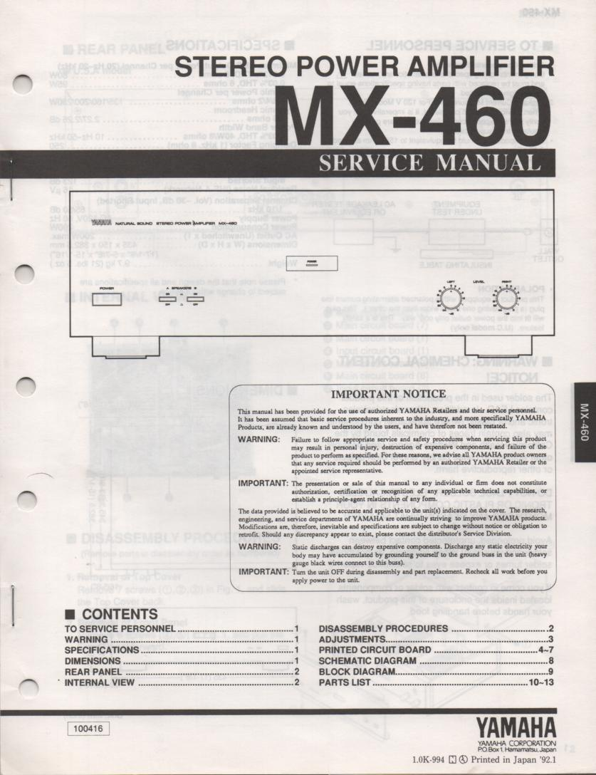 MX-460 Amplifier Service Manual