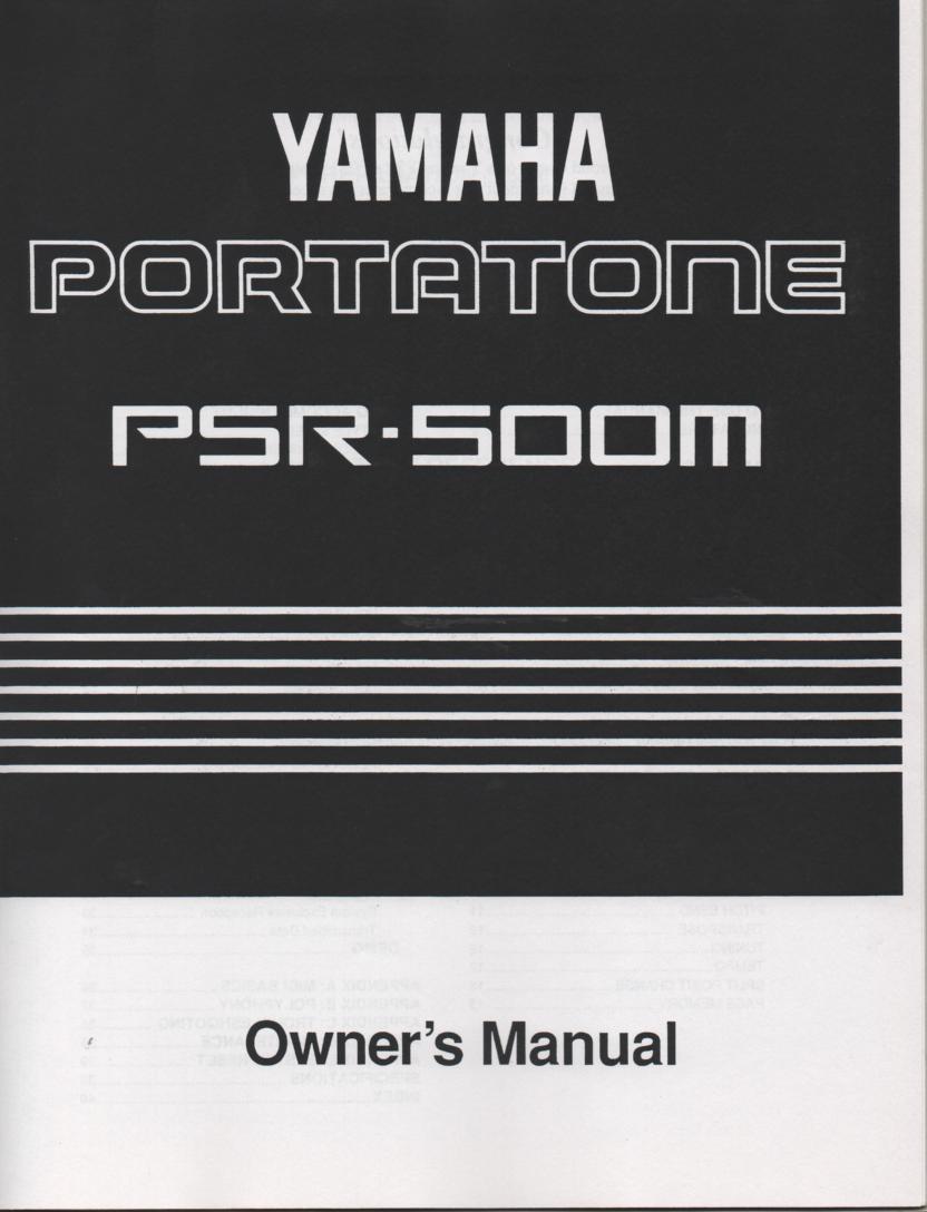 PSR-500M Portatone Keyboard Owners Manual