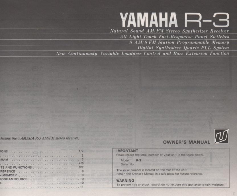 R-3 Receiver Owners Instruction Manual