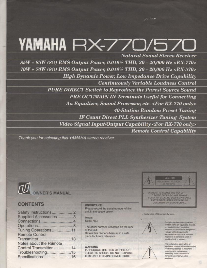 RX-570 RX-770 Receiver Owners Instruction Manual