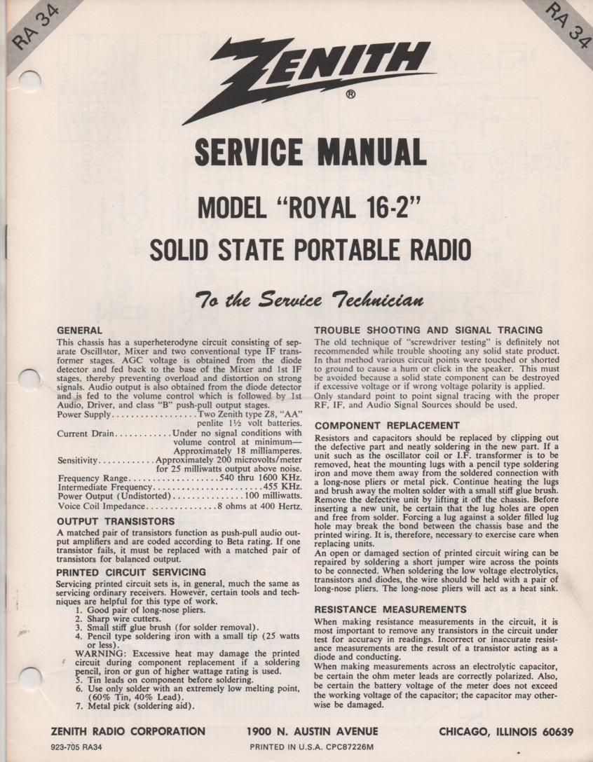 16-2 Royal 16-2 AM FM Radio Service Manual RA34