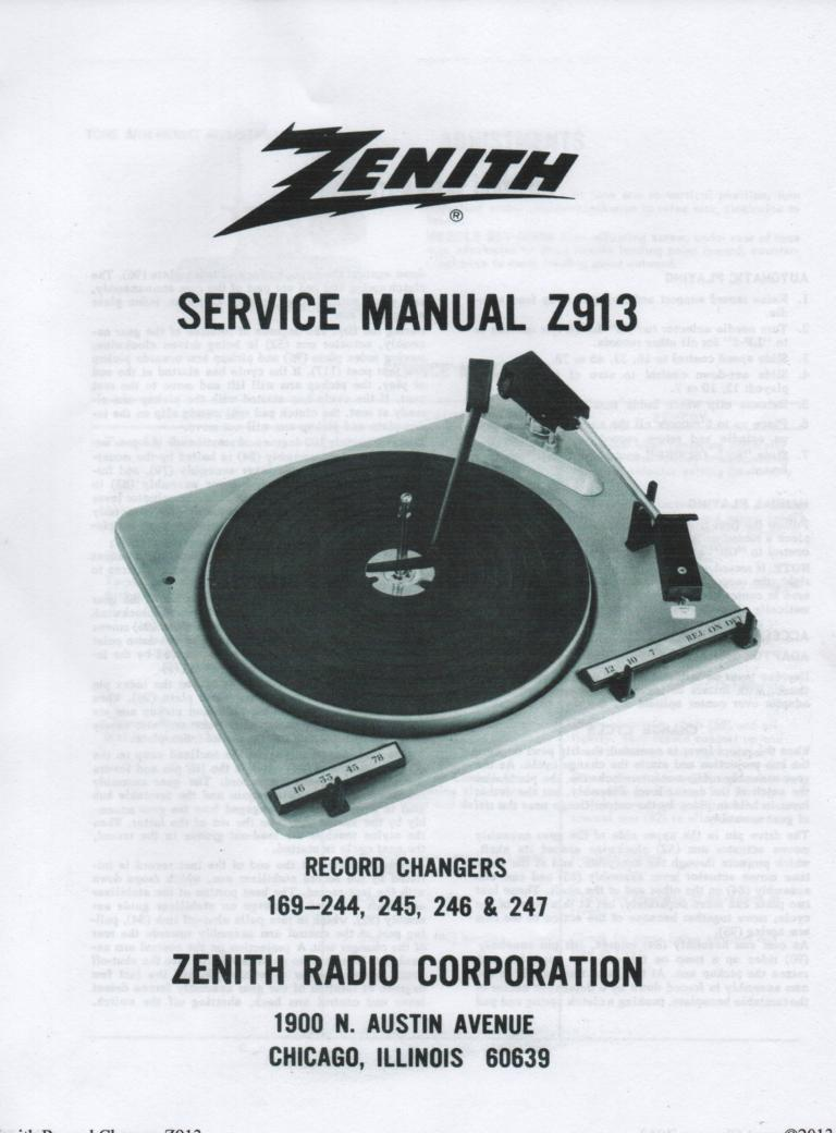 169-244 169-245 169-246 169-247 Record Changer Service Manual Z913