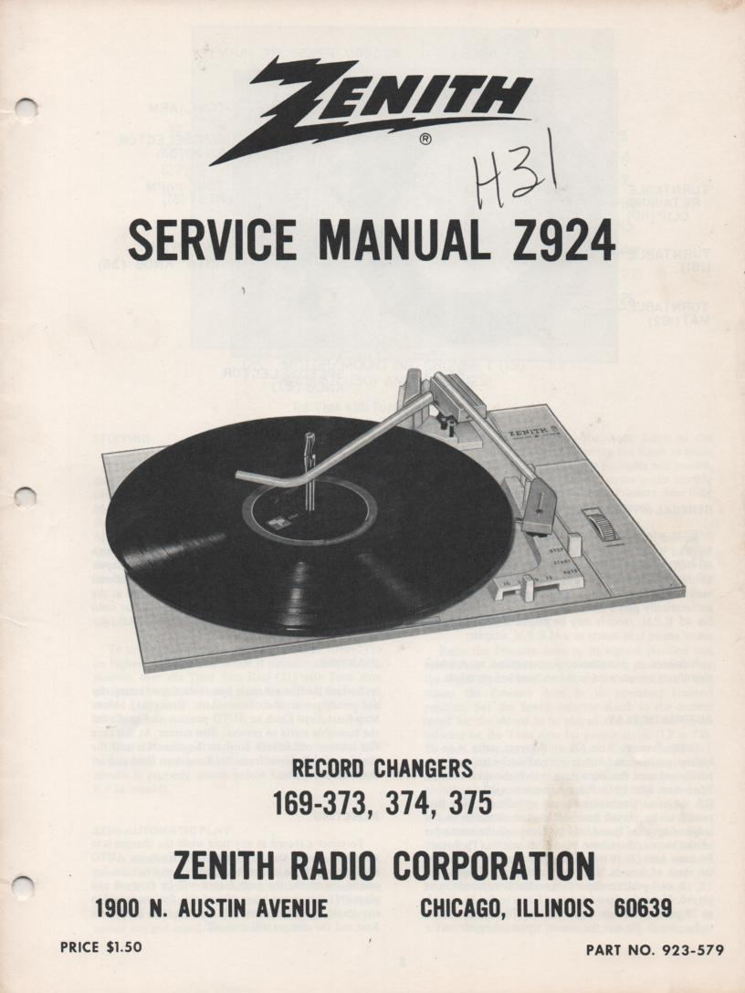 169-373 169-374 169-375 Record Changer Service Manual Z924