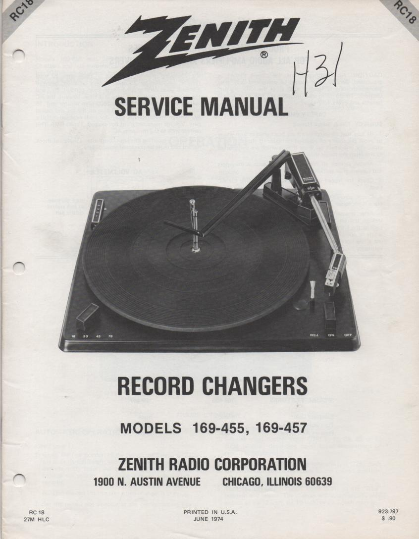 169-457 Turntable Service Manual. RC18
