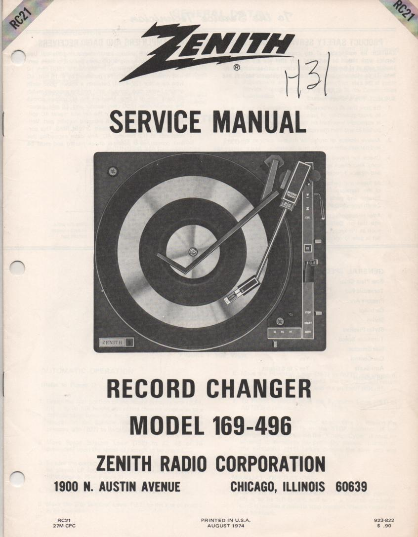 169-496 Turntable Service Manual. RC17