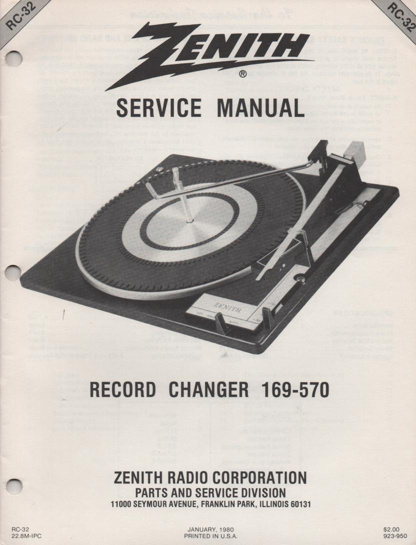 169-570 Turntable Service Manual RC32..January 1980
