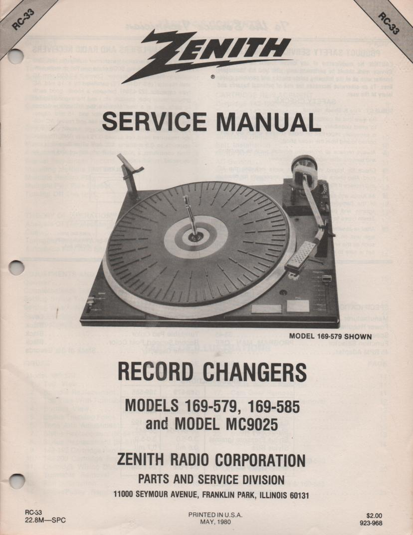 169-579 169-585 MC9025 Turntable Service Manual RC-33 May 1980