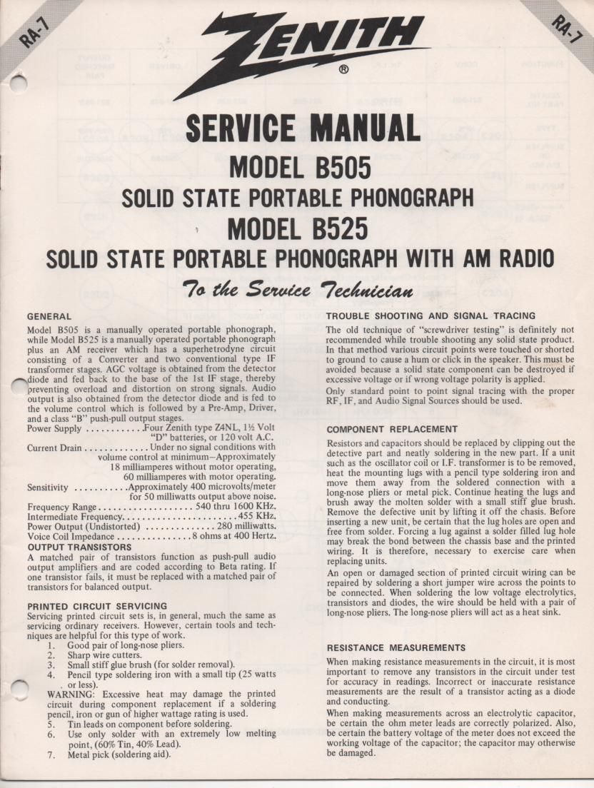 B505 Turntable Service Manual. RA7