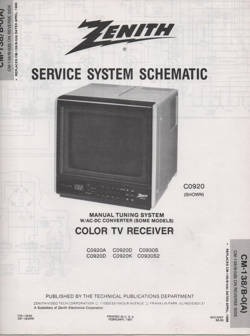 D0920A D0920D D0920K D0920U D0930S TV Service Diagram CM-139 B-0 A B Chassis ... With Schematics