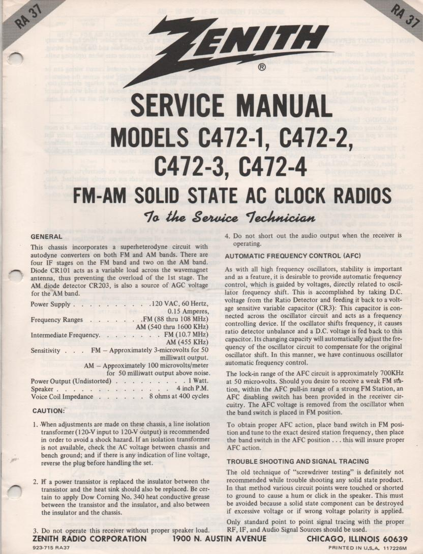 C472-1 C472-2 C472-3 C472-4 AM FM Radio Service Manual RA37