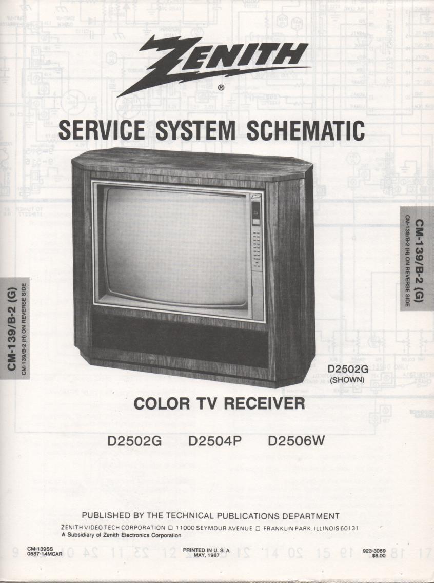 D2502G D2504P D2506W Service Diagram CM-139 B-2 G H Chassis Television Service Information