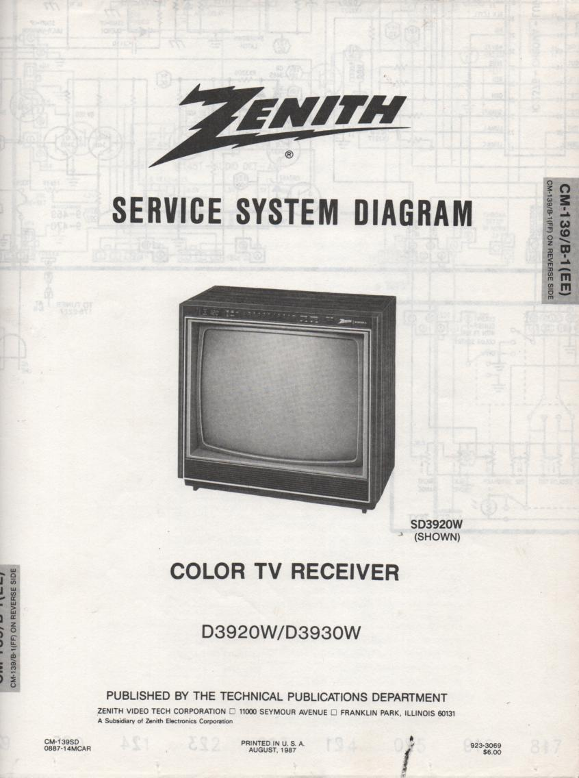 D3920W D3930W TV Service Diagram CM-139 B-1 EE FF Chassis Television Service Information with Schematics