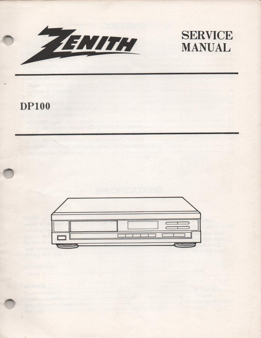 DP100 CD Player Service Manual