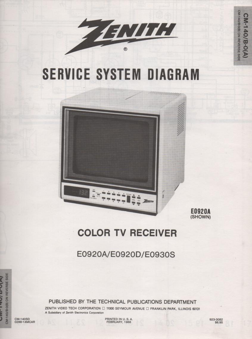 E0920A E0920D E930S TV Service Diagram CM-140 B-0 A B Chassis Television Service Information With Schematics.