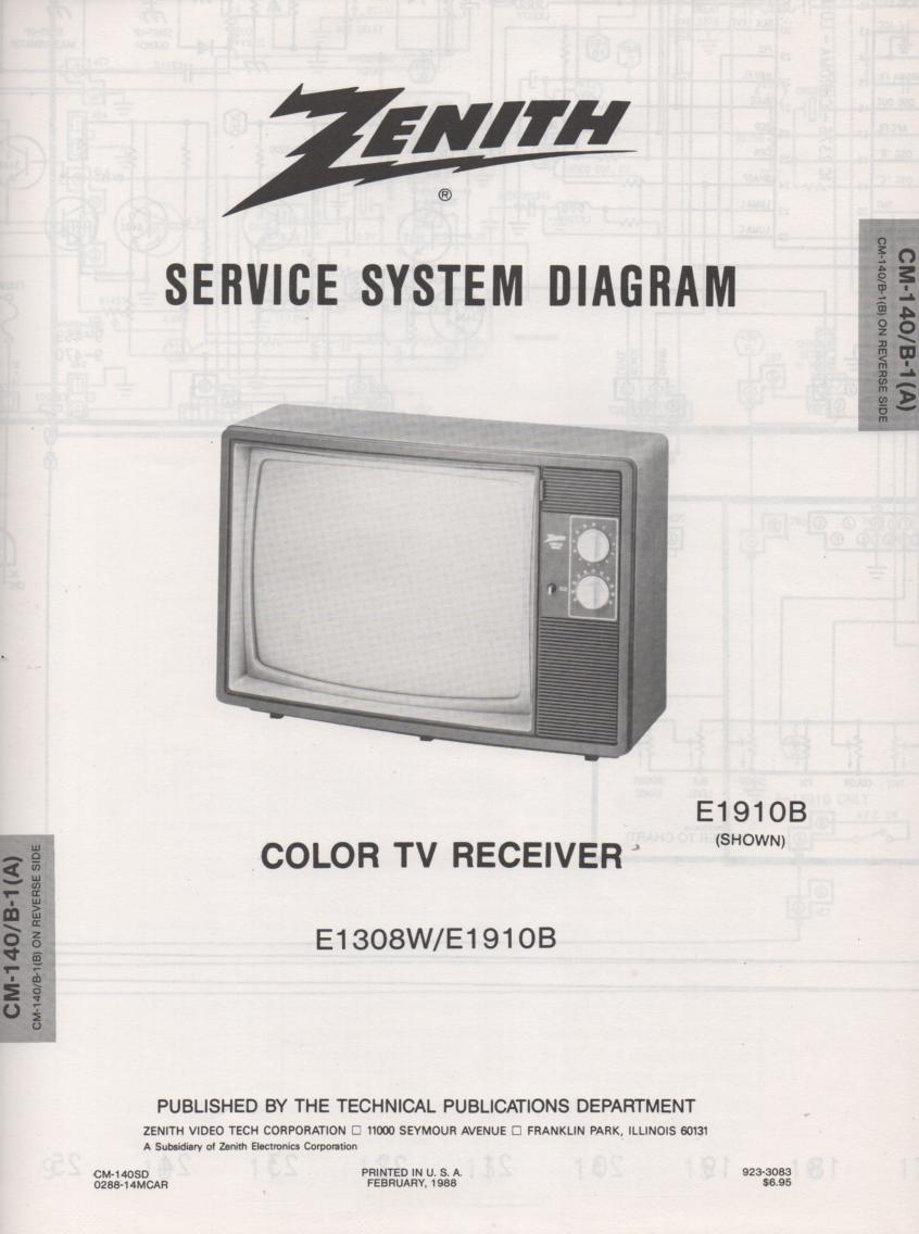 E1308W E1910B TV Service Diagram CM-140 B-1 A B Chassis Television Service Information With Schematics
