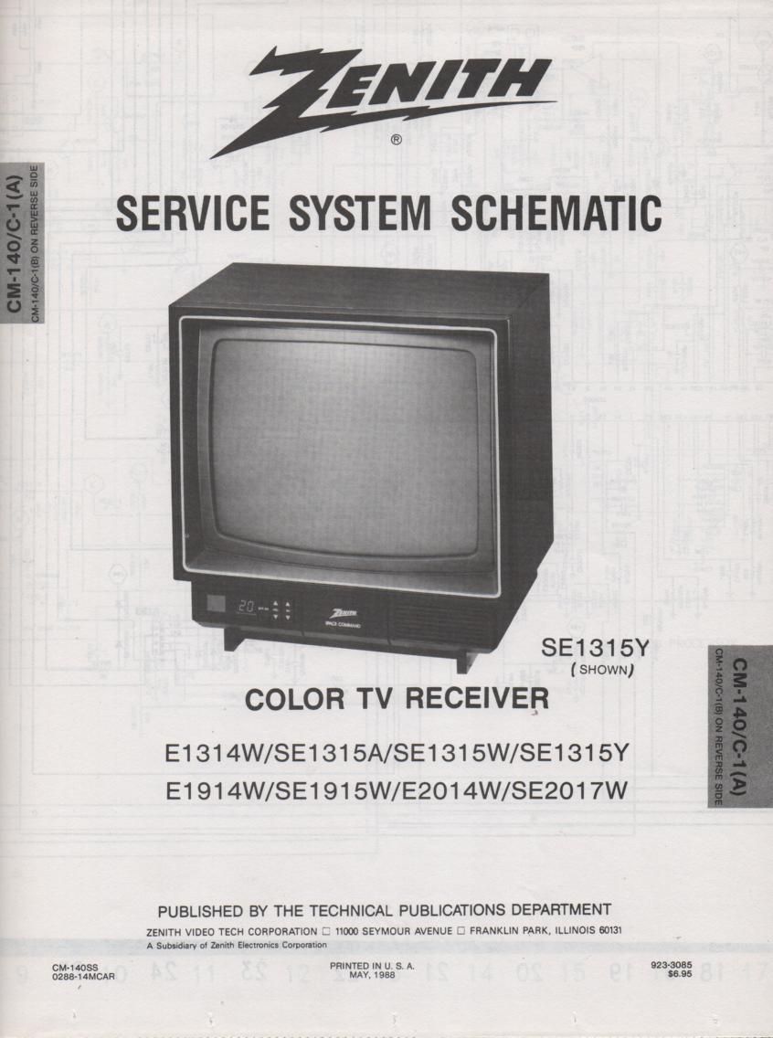 E1314W SE1315 A W Y D1314W E1914 W SE1915W SE2014W  SE2017W TV Service Diagram CM-140 C-1 A B Chassis Television Service Information With Schematics