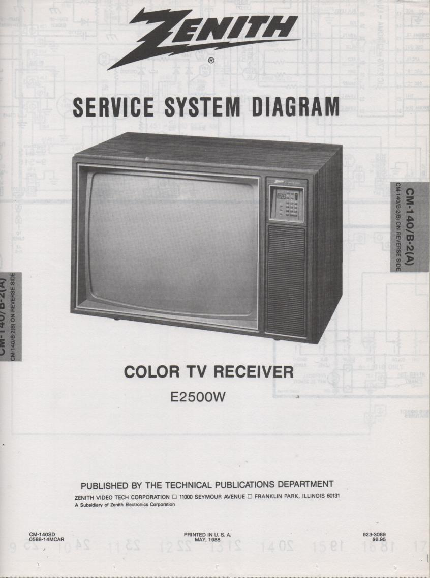 E2500W TV Service Diagram CM-140 B-2 A B Chassis Television Service Information With Schematics