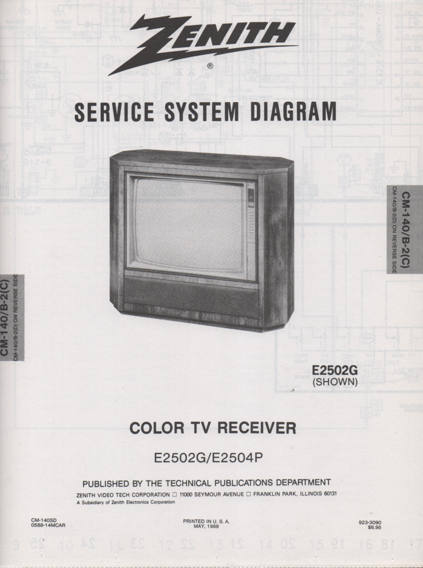 E2502G E2504P TV Service Diagram CM-140 B-2 C D Chassis Television Service Information With Schematics