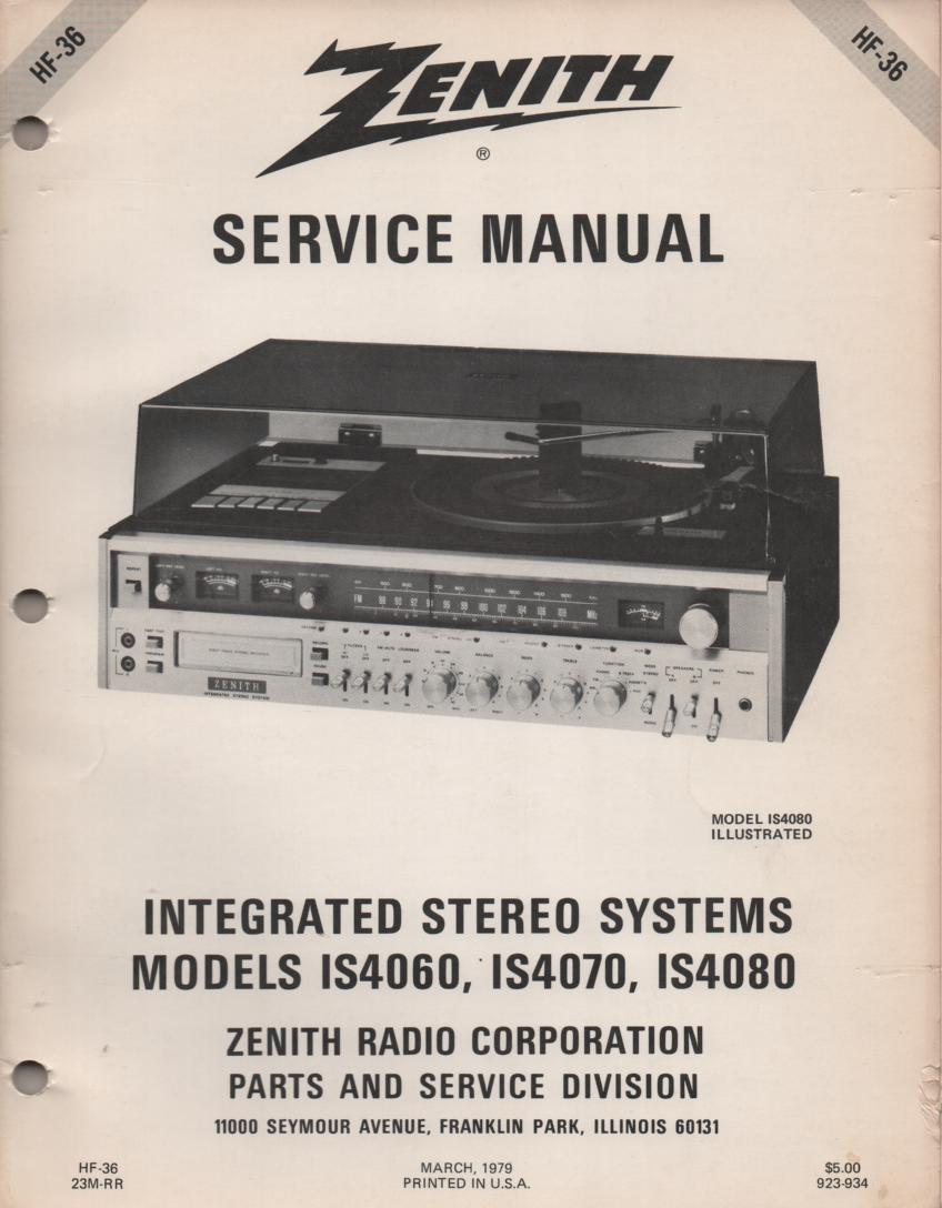 IS4060 IS4070 IS4080 Stereo System Service Manual HF36