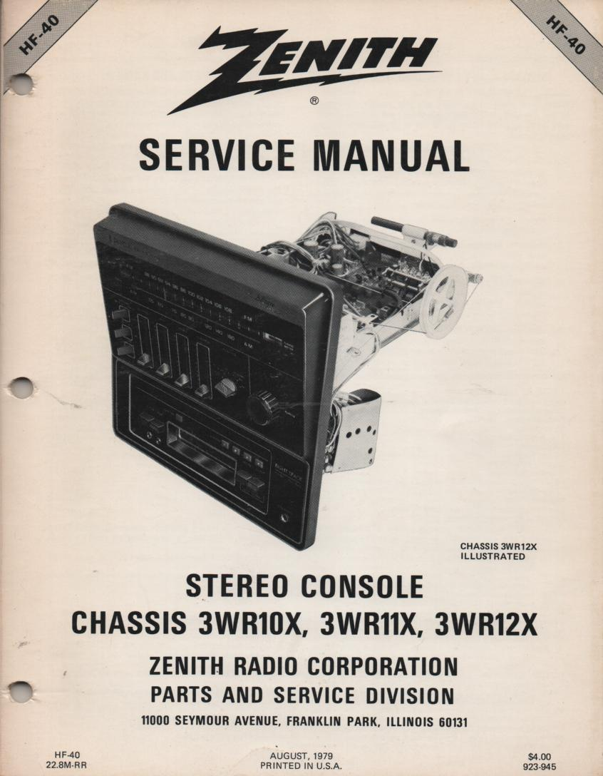 3WR10X 3WR11X 3WR12X Stereo Console Service Manual HF40