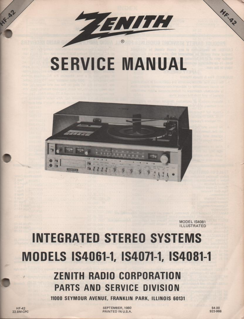 IS4060-1 IS4070-1 IS4080-1 Stereo System Service Manual HF42